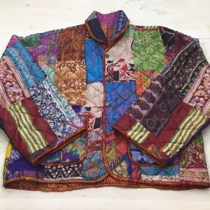 Silk (?) quilted reversible patchwork jacket